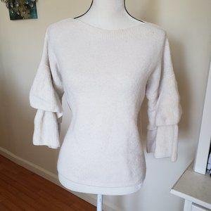 Madewell White Wool Puff Sleeve Sweater